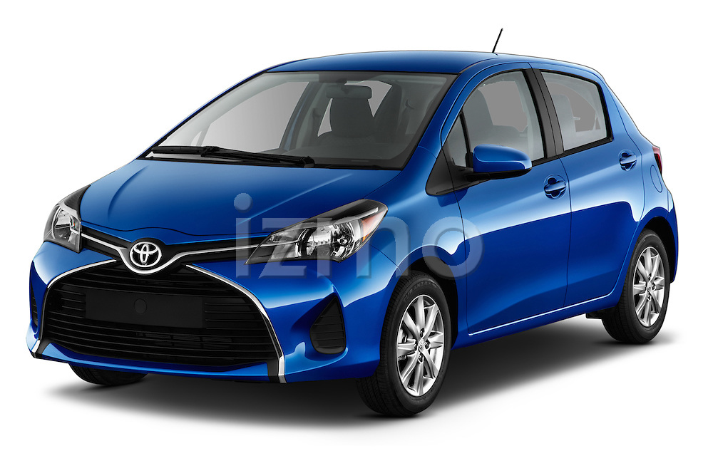 2015 Toyota Yaris Le 5 Door Hatchback angular front stock photos of front three quarter view