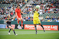 Los Angeles Sol goalie Karina LeBlanc (23) stops Washington Freedom Abby Wambach (20) shot on goal in the second half at the Home Depot Center in Carson, CA on Sunday, March 29, 2009.