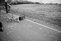 Martin Reimer (DEU/MTN-Qhubeka) down in yet another crash<br /> <br /> Ronde van Vlaanderen 2014