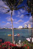 Scenic from beautiful pool at the Hilton Hotel on Tumon Bay in Guam USA