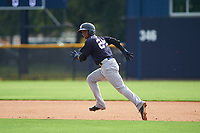 GCL Yankees West shortstop Oswald Peraza (24) runs the bases during the first game of a doubleheader against the GCL Yankees East on July 19, 2017 at the Yankees Minor League Complex in Tampa, Florida.  GCL Yankees West defeated the GCL Yankees East 11-2.  (Mike Janes/Four Seam Images)