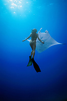 woman freediver and reef manta ray, Manta alfredi, Mexico, Pacific Ocean