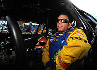 Oct. 31, 2008; Las Vegas, NV, USA: NHRA pro stock driver Richie Stevens during qualifying for the Las Vegas Nationals at The Strip in Las Vegas. Mandatory Credit: Mark J. Rebilas-
