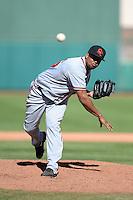 Scottsdale Scorpions pitcher Juan Jaime (46), of the Atlanta Braves organization, during an Arizona Fall League game against the Mesa Solar Sox on October 15, 2013 at HoHoKam Park in Mesa, Arizona.  Mesa defeated Scottsdale 7-4.  (Mike Janes/Four Seam Images)