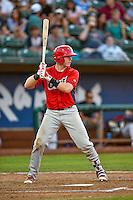 Brennan Morgan (23) of the Orem Owlz at bat against the Ogden Raptors in Pioneer League action at Lindquist Field on July 29, 2016 in Ogden, Utah. Orem defeated Ogden 8-5. (Stephen Smith/Four Seam Images)