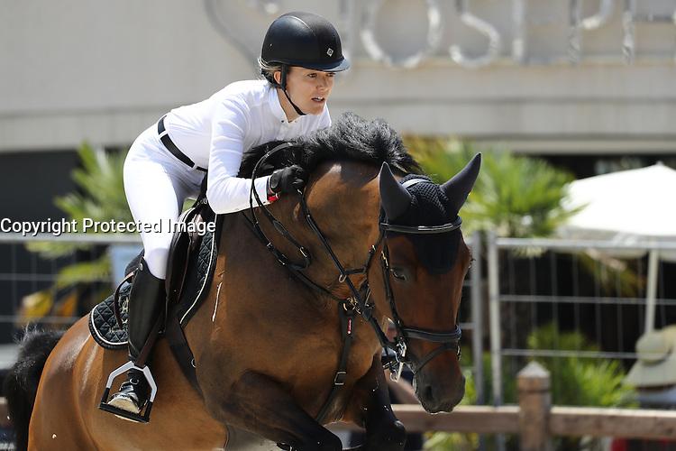--- NO TABLOIDS NO SITE --- Marta Ortega Perez competes at the Longines Global Champions Tour of Monaco.