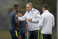 11th November 2020; Granja Comary, Teresopolis, Rio de Janeiro, Brazil; Qatar 2022 qualifiers; Manager Tite and Vinicius Jr. of Brazil chat during training session in Granja Comary
