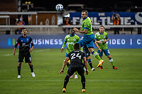 SAN JOSE, CA - OCTOBER 18: Jordan Morris #13 of the Seattle Sounders heads the ball during a game between Seattle Sounders FC and San Jose Earthquakes at Earthquakes Stadium on October 18, 2020 in San Jose, California.