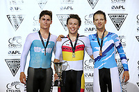 Campbell Stewart, Corbin Strong and Aaron Gate after competing in the Elite Men Omnium points race 30km during the 2020 Vantage Elite and U19 Track Cycling National Championships at the Avantidrome in Cambridge, New Zealand on Friday, 24 January 2020. ( Mandatory Photo Credit: Dianne Manson )