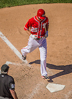 26 May 2013: Washington Nationals first baseman Adam LaRoche scores of a Tyler Moore RBI single against the Philadelphia Phillies at Nationals Park in Washington, DC. The Nationals defeated the Phillies 6-1, taking the rubber game of their 3-game weekend series. Mandatory Credit: Ed Wolfstein Photo *** RAW (NEF) Image File Available ***