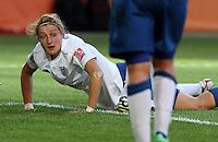Wolfsburg , 270611 , FIFA / Frauen Weltmeisterschaft 2011 / Womens Worldcup 2011 , Gruppe B  ,  .England - Mexico .Ellen White (England) am Boden .Foto:Karina Hessland .