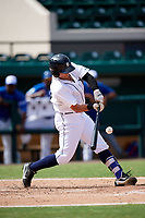 Detroit Tigers Garrett McCain (39) hits a single during an Instructional League game against the Toronto Blue Jays on October 12, 2017 at Joker Marchant Stadium in Lakeland, Florida.  (Mike Janes/Four Seam Images)