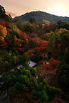 Kiyomizu-dera temple grounds with a view on Koyasu pagoda in a beautiful colorful autumn scenery. Higashiyama, Kyoto, Japan travel photography 2017. Image © MaximImages, License at https://www.maximimages.com