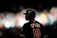 May 8, 2010; Phoenix, AZ, USA; Arizona Diamondbacks right fielder Justin Upton prepares to bat in the third inning against the Milwaukee Brewers at Chase Field. Mandatory Credit: Mark J. Rebilas-