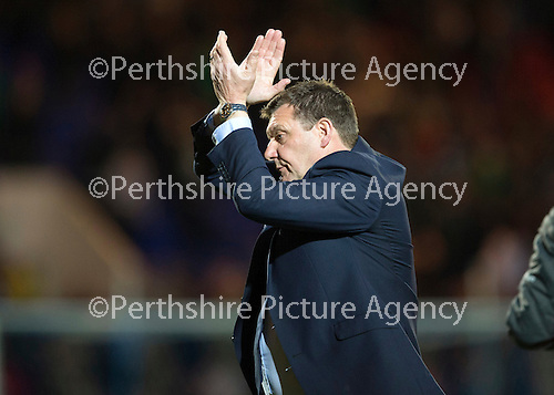 St Johnstone v Celtic...15.05.15   SPFL<br /> Tommy Wright applauds the fans at full time<br /> Picture by Graeme Hart.<br /> Copyright Perthshire Picture Agency<br /> Tel: 01738 623350  Mobile: 07990 594431