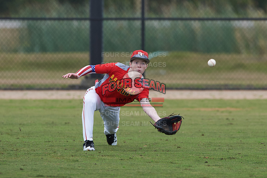 Spencer Margolis (5) of Louisville, Tennessee during the Baseball Factory All-America Pre-Season Rookie Tournament, powered by Under Armour, on January 13, 2018 at Lake Myrtle Sports Complex in Auburndale, Florida.  (Michael Johnson/Four Seam Images)