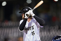 Trey Michalczewski (18) of the Charlotte Knights at bat against the Scranton/Wilkes-Barre RailRiders at BB&T BallPark on August 14, 2019 in Charlotte, North Carolina. The Knights defeated the RailRiders 13-12 in ten innings. (Brian Westerholt/Four Seam Images)