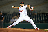 Scottsdale Scorpions pitcher Victor Arano (38), of the Philadelphia Phillies organization, during a game against the Salt River Rafters on October 20, 2016 at Scottsdale Stadium in Scottsdale, Arizona.  Scottsdale defeated Salt River 4-1.  (Mike Janes/Four Seam Images)