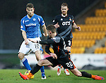 St Johnstone v Kilmarnock....09.01.16  Scottish Cup  McDiarmid Park, Perth<br /> Kevin McHattie tackles David Wotherspoon<br /> Picture by Graeme Hart.<br /> Copyright Perthshire Picture Agency<br /> Tel: 01738 623350  Mobile: 07990 594431