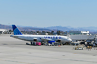 Las Vegas NV - February 22, 2021:  777s suspended by Boeing after United Airlines engine failure at McCarran International Airport in Las Vegas, Nevada on February 22, 2021. <br /> CAP/MPI/DAM<br /> ©DAM/MPI/Capital Pictures