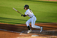 Bradenton Marauders Hudson Head (17) hits a single during Game Two of the Low-A Southeast Championship Series against the Tampa Tarpons on September 22, 2021 at LECOM Park in Bradenton, Florida.  (Mike Janes/Four Seam Images)