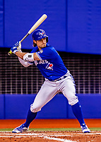 26 March 2018: Toronto Blue Jays outfielder Randal Grichuk at bat during an exhibition game against the St. Louis Cardinals at Olympic Stadium in Montreal, Quebec, Canada. The Cardinals defeated the Blue Jays 5-3 in the first of two MLB pre-season games in the former home of the Montreal Expos. Mandatory Credit: Ed Wolfstein Photo *** RAW (NEF) Image File Available ***