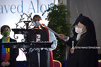 Ecumenical patriarch of Costantinople Bartholomew I (L) attends a ceremony for peace with representatives from various religions in Campidoglio Square in Rome on October 20, 2020<br /> (Photo by Stefano Spaziani)