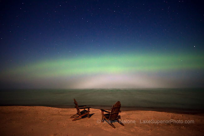 aurora borealis northern lights, fogbow from FULL moon, and two adirondack chairs on the beach, Lake Superior, Marquette MI. Featured: Spaceweather.com 09/11/2011