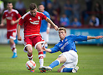 Aberdeen v St Johnstone...28.06.15  Glebe Park, Brechin..Pre-Season Friendly<br /> Graeme Shinnie is tackled by David Wotherspoon<br /> Picture by Graeme Hart.<br /> Copyright Perthshire Picture Agency<br /> Tel: 01738 623350  Mobile: 07990 594431