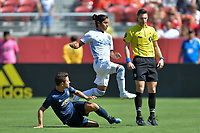 Santa Clara, CA - Sunday July 22, 2018: Ander Herrera, Gilbert Fuentes during a friendly match between the San Jose Earthquakes and Manchester United FC at Levi's Stadium.