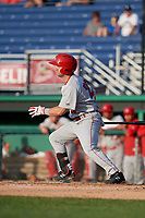 Auburn Doubledays Jake Alu (25) bats during a NY-Penn League game against the Batavia Muckdogs on June 19, 2019 at Dwyer Stadium in Batavia, New York.  Auburn defeated Batavia 5-0 in the second game of a doubleheader.  (Mike Janes/Four Seam Images)