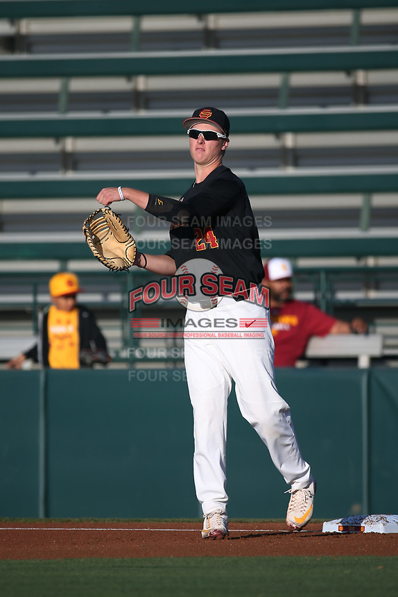 Dillon Paulson (24) of the Southern California Trojans at first base during a game against the Stanford Cardinal at Dedeaux Field on April 6, 2017 in Los Angeles, California. Southern California defeated Stanford, 7-5. (Larry Goren/Four Seam Images)