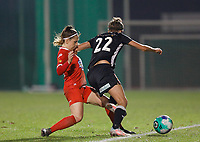 Taika De Koker (20) of Woluwe pictured in a duel with Justine Blave (22) of Eendracht Aalst during a female soccer game between FC Femina White Star Woluwe and Eendracht Aalst on the sixth matchday in the 2021 - 2022 season of Belgian Scooore Womens Super League , friday 8 th of october 2021  in Woluwe , Belgium . PHOTO SPORTPIX | KRISTOF DE MOOR