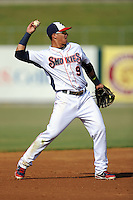 Tennessee Smokies shortstop Javier Baez #9 warms up between innings during a game against the Mobile BayBears at Smokies Park on August 25, 2013 in Kodak, Tennessee. The BayBears won the game 2-0. (Tony Farlow/Four Seam Images)
