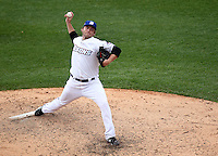 Buffalo Bisons relief pitcher Jeff Stevens #31 delivers a pitch during a game against the Columbus Clippers at Coca-Cola Field on May 31, 2012 in Buffalo, New York.  Columbus defeated Buffalo 3-0.  (Mike Janes/Four Seam Images)
