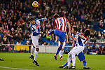 Atletico de Madrid's player Diego Godín and RCD Espanyol player Diego Reyes during match of La Liga between Atletico de Madrid and RCD Espanyol at Vicente Calderon Stadium in Madrid, Spain. December 03, 2016. (ALTERPHOTOS/BorjaB.Hojas)