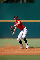 Hunter Teplanszky (13) of Marcus High School in Flower Mound, TX during the Perfect Game National Showcase at Hoover Metropolitan Stadium on June 19, 2020 in Hoover, Alabama. (Mike Janes/Four Seam Images)