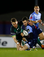 20th February 2021; Galway Sportsgrounds, Galway, Connacht, Ireland; Guinness Pro 14 Rugby, Connacht versus Cardiff Blues; Connacht winger Matt Healy takes his Cardiff Blues counterpart Aled Summerhill to ground