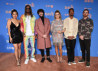 """LOS ANGELES, CA - JUNE 10: (L-R) Christine Ko, GaTa, Dave Burd, Taylor Misiak, Travis Bennett, and Andrew Santino attend the Season Two Red Carpet event for FXX's """"DAVE"""" at the Greek Theater on June 10, 2021 in Los Angeles, California. (Photo by Frank Micelotta/FXX/PictureGroup)"""