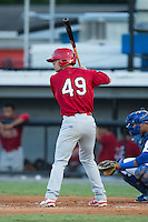 Joey Hawkins (49) of the Johnson City Cardinals at bat against the Burlington Royals at Burlington Athletic Park on August 22, 2015 in Burlington, North Carolina.  The Cardinals defeated the Royals 9-3. (Brian Westerholt/Four Seam Images)