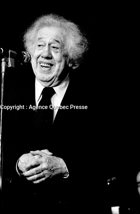 French actor Michel Simon appear as second act after his girlfriend Jeanne Carre who's performing) at LE PATRIOTE in Montreal in March 1973 (Exact date unknown).<br /> <br /> File Photo : Agence Quebec Presse - Alain Renaud