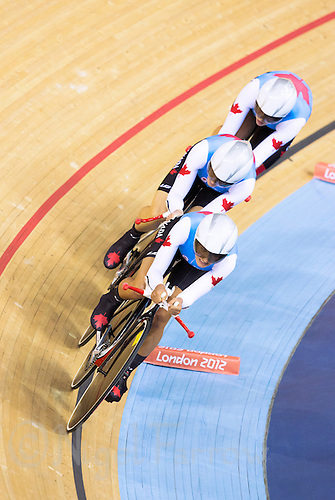 03 AUG 2012 - LONDON, GBR - The team from Canada (CAN) race against the clock during the women's Team Pursuit qualifying round at the London 2012 Olympic Games in the Olympic Park Velodrome in Stratford, London, Great Britain (PHOTO (C) 2012 NIGEL FARROW)