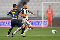Cristiano Ronaldo of Juventus and Giulio Donati of Lecce<br /> during the Serie A football match between Juventus FC and US Lecce at Juventus stadium in Turin  ( Italy ), June 26th, 2020. Play resumes behind closed doors following the outbreak of the coronavirus disease. Photo Andrea Staccioli / Insidefoto