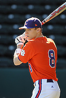 Infielder Richie Shaffer (8) of the Clemson Tigers prior to a game against the Michigan State Spartans Saturday, Feb. 20, 2010, at Fluor Field at the West End in Greenville, S.C. Shaffer is ranked No. 30 on Baseball America's list of top college freshmen prospects. Photo by: Tom Priddy/Four Seam Images