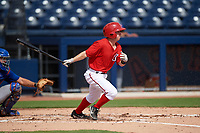 GCL Nationals second baseman Phil Caulfield (3) at bat during the first game of a doubleheader against the GCL Mets on July 22, 2017 at The Ballpark of the Palm Beaches in Palm Beach, Florida.  GCL Mets defeated the GCL Nationals 1-0 in a seven inning game that originally started on July 17th.  (Mike Janes/Four Seam Images)