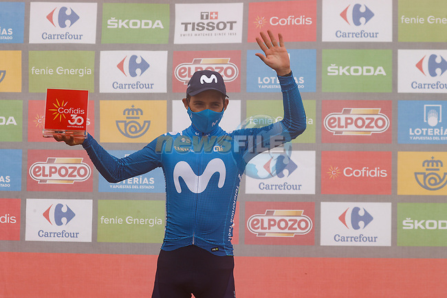 Miguel Angel Lopez Moreno (COL) Movistar Team wins Stage 18 of La Vuelta d'Espana 2021, running 162.6km from Salas to Alto del Gamoniteiru, Spain. 2nd September 2021.    <br /> Picture: Luis Angel Gomez/Photogomezsport | Cyclefile<br /> <br /> All photos usage must carry mandatory copyright credit (© Cyclefile | Luis Angel Gomez/Photogomezsport)