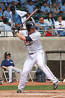 Nate Recknagel #28 of the Kinston Indians at bat during a game against the Lynchburg Hillcats at Granger Stadium on April 28, 2010 in Kinston, NC. Photo by Robert Gurganus/Four Seam Images.