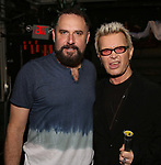 """Adam Dannheisser and Billy Idol backstage at """"Beetlejuice The Musical"""" on Broadway at the Winter Garden Theatre on July 30, 2019 in New York City."""