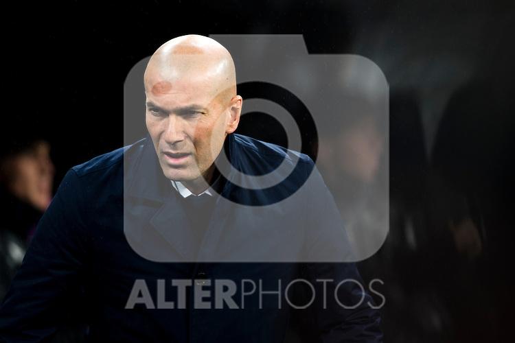 Real Madrid's Real Madrid's coach Zinedine Zidane during the match of La Liga between Real Madrid and   Real Sociedad at Santiago Bernabeu Stadium in Madrid, Spain. January 29th 2017. (ALTERPHOTOS/Rodrigo Jimenez)