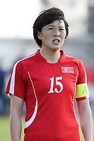 20190227 - LARNACA , CYPRUS : North Korean defender Kim Nam-hui pictured during a women's soccer game between Korea DPR and Czech Republic , on Wednesday 27 February 2019 at the GSZ Stadium in Larnaca , Cyprus . This is the first game in group A for both teams during the Cyprus Womens Cup 2019 , a prestigious women soccer tournament as a preparation on the Uefa Women's Euro 2021 qualification duels and the Fifa World Cup France 2019. PHOTO SPORTPIX.BE | STIJN AUDOOREN